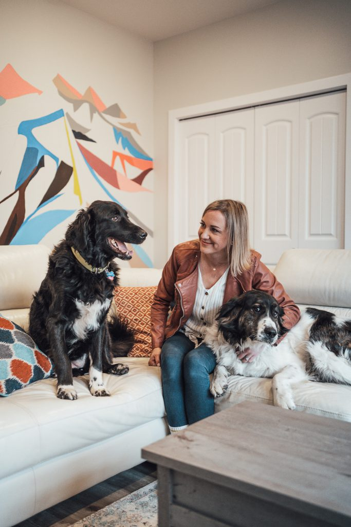 Veterinarian Dr. Christine Beck with her two dogs, Bickleigh and Charlie